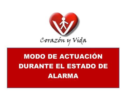 Actuación de la Asociación Corazón y Vida durante el estado de Alarma